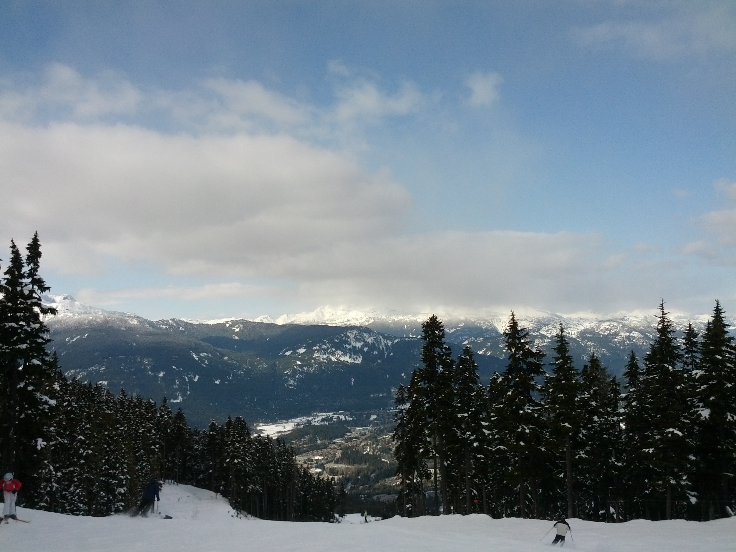 Looking out on Whistler Village and the Coastal Mountains beyond.