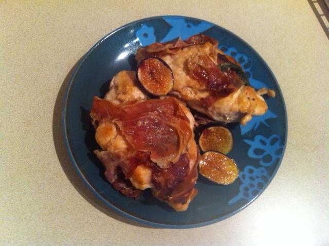 Prosciutto-Sage Chicken with Pan-Roasted Figs from Keys to the Kitchen cookbook.