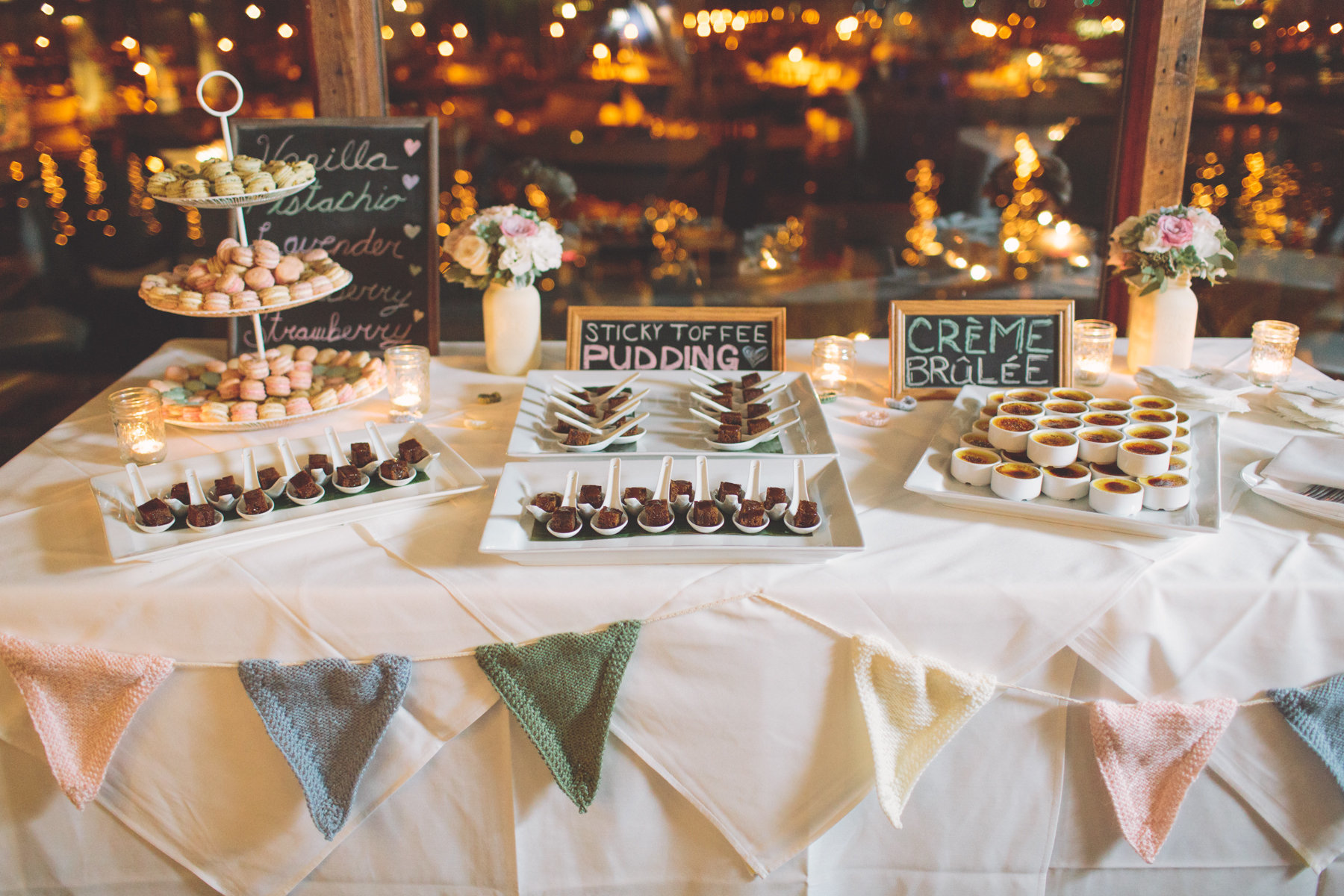 The bunting from our dessert table. I'm going to use the white and add some red and green to add some Christmas feel to our fireplace. Photocredit: The Nickersons