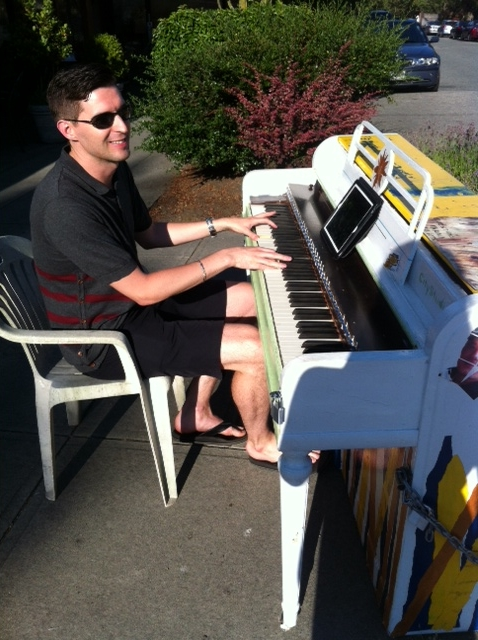 Random street piano playing outside our local Bean Around the World.