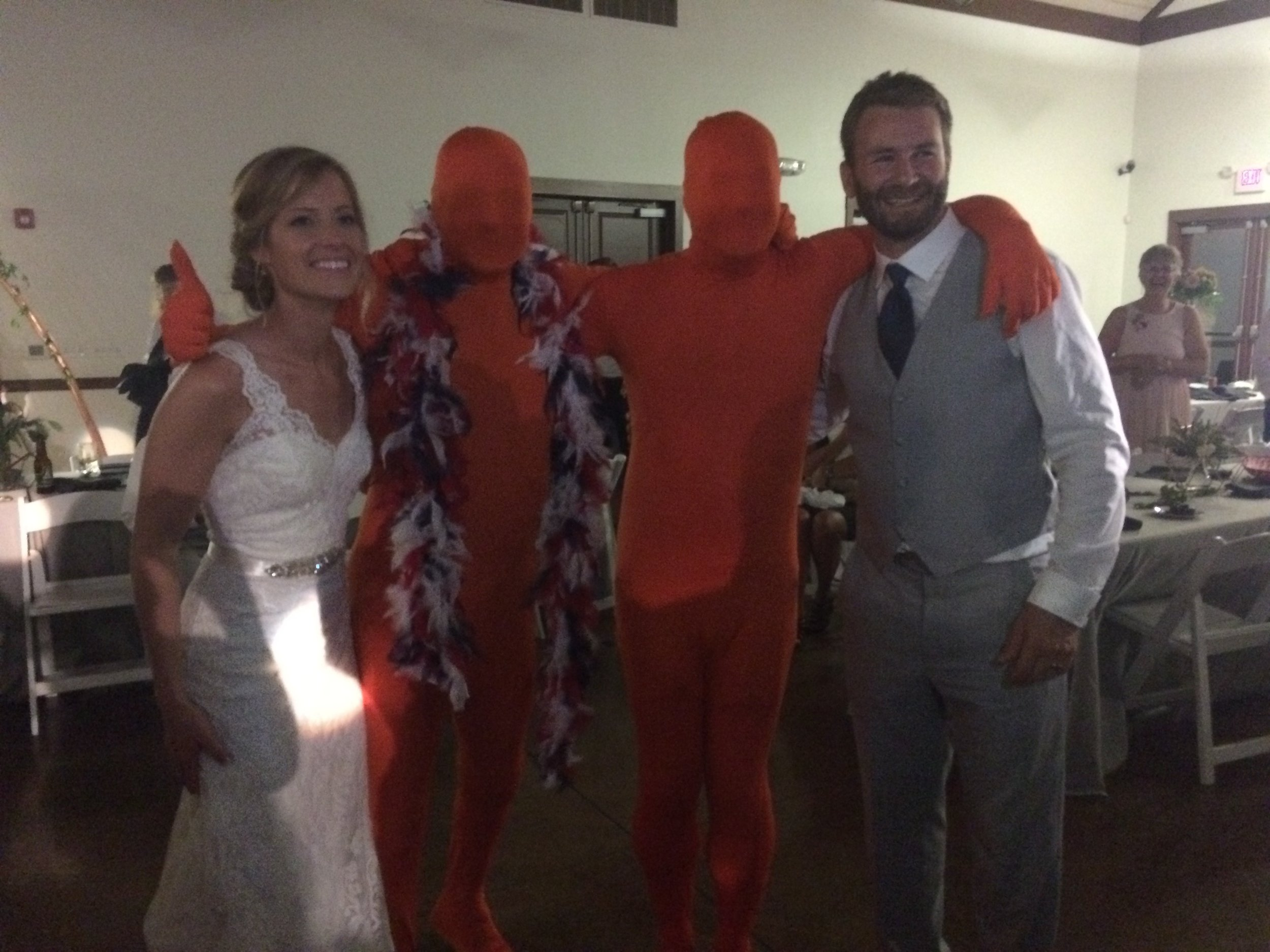 The American's challenged the Internationals to a dance off, so we pulled out our secret weapon, the orange men, and easily won. (Orange men's names will not be disclosed.) Photo above with the lovely couple, Jenn and Mark.
