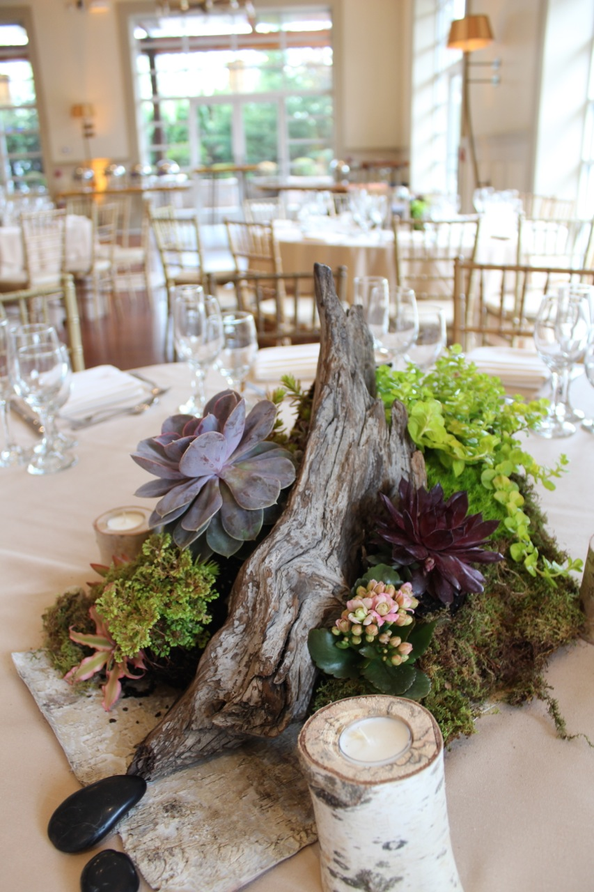 Wedding Decorations Using Wood Logs