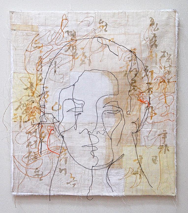 "'umma 4'  2004 18"" x 16"" ramie, hemp, stencil, machine & hand stitching"