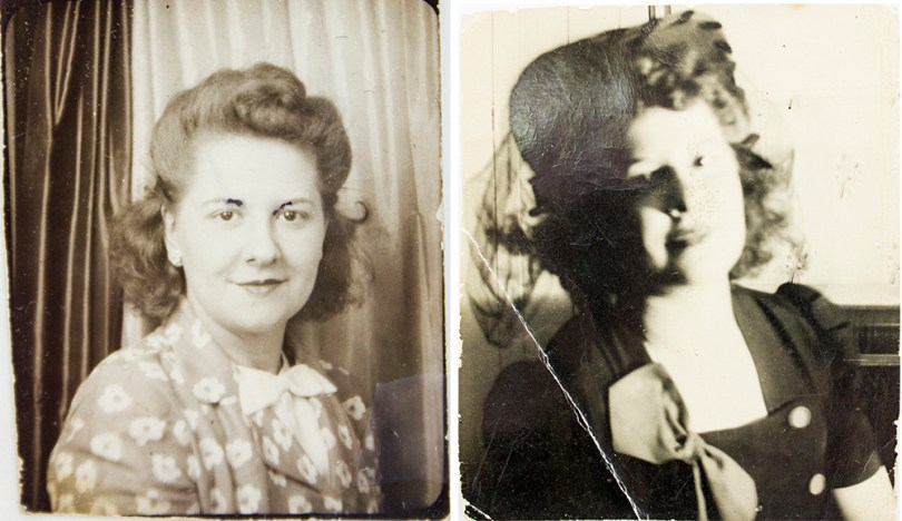 More photos of my Aunt Ann carried by Joe, both taken 1943. They're a bit damaged (especially the ink in her eyebrows on the Left). They're only a little larger in size thanyour thumb nail on your hand!
