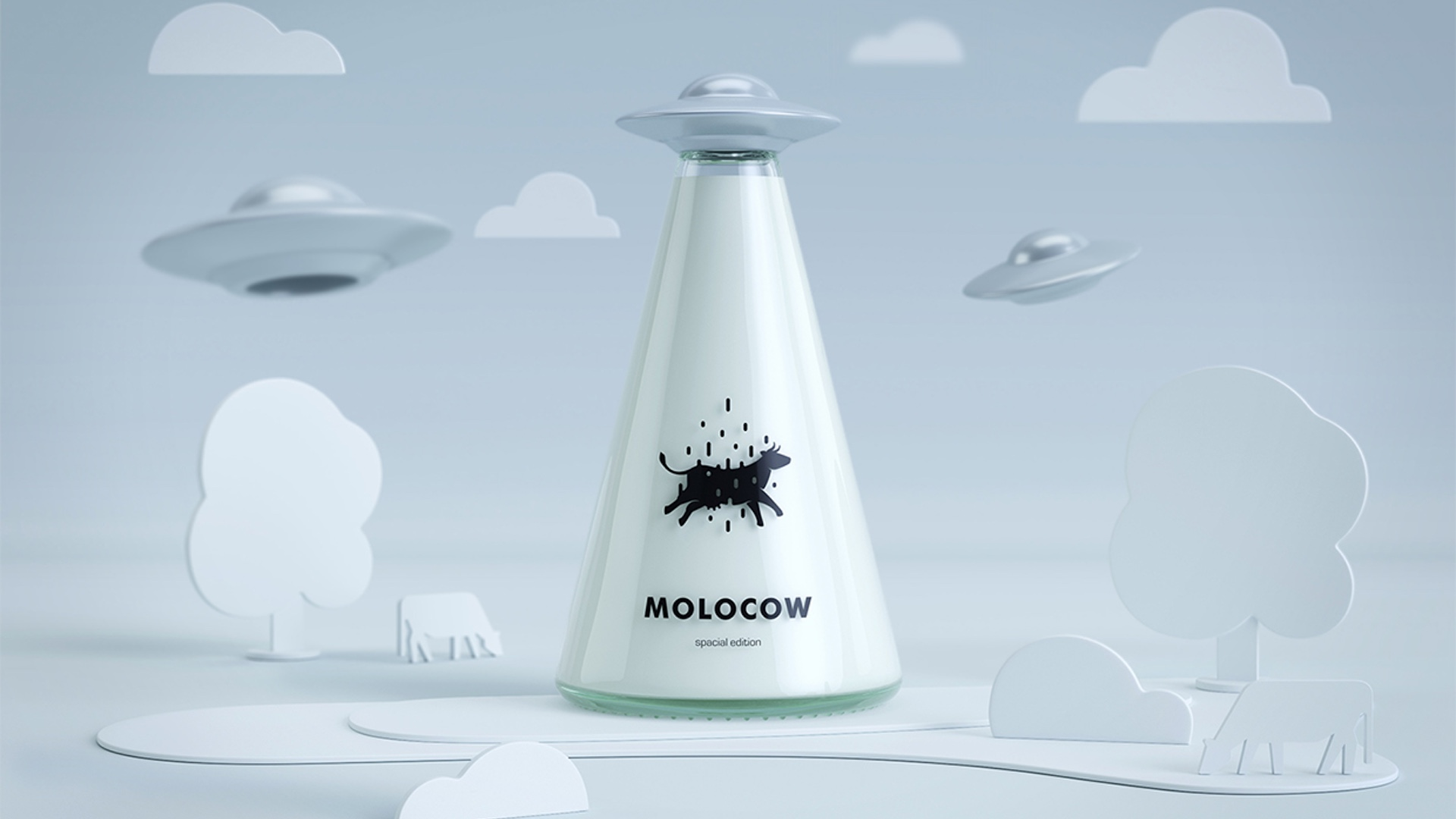 Brilliant Milk Bottle Is Shaped Like A UFO Beaming Up A