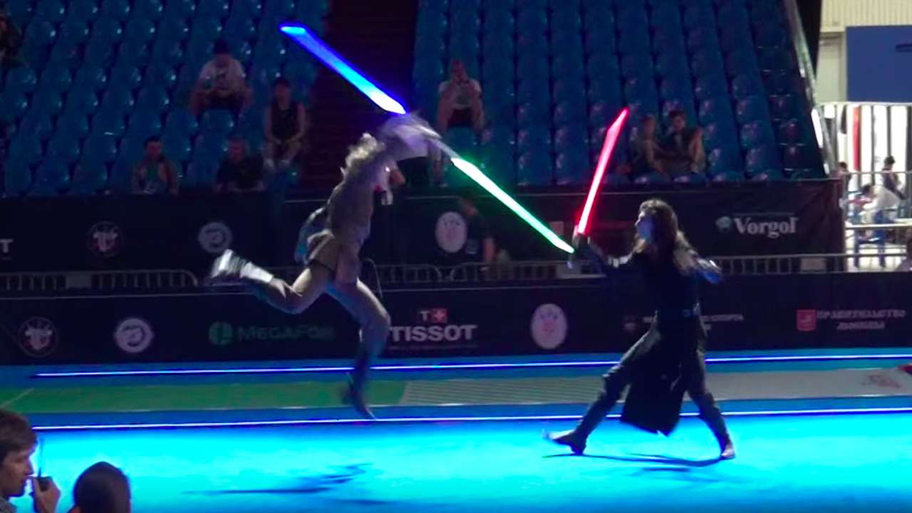 Watch These Two Professional Fencers Battle With