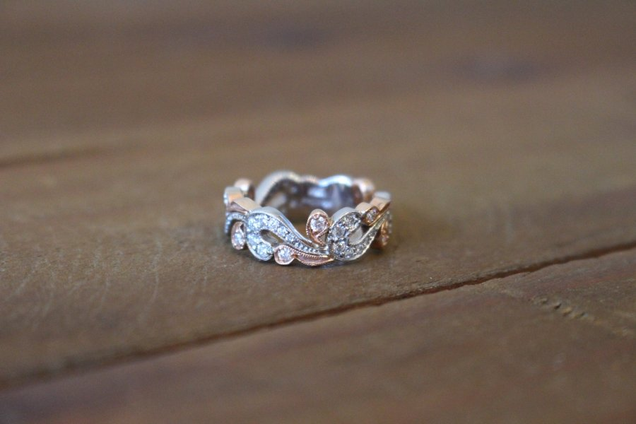 Rose   White Gold Diamond Vine Ring     The Diamondaire Rose   White Gold Diamond Vine Ring
