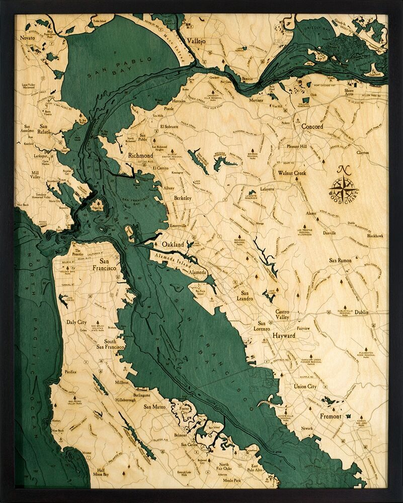 San Francisco Bay Area  CA  Large      3D WOOD MAPS   BELLA MAPS San Francisco Bay Area  CA  Large