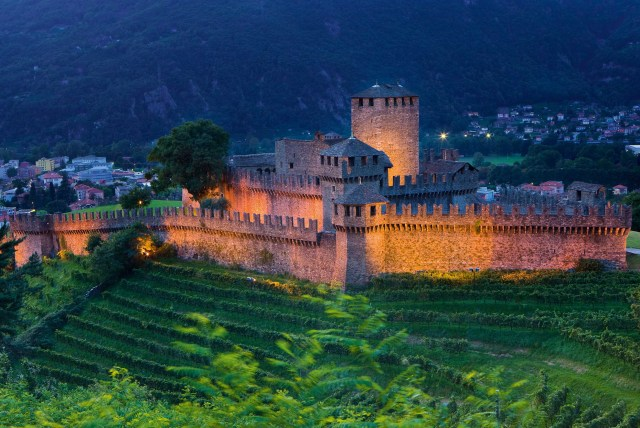 Bellinzona by night, Canton Ticino. The Montebello castle is part of the extensive fortifications originating from the 12th to the 15th centuries.