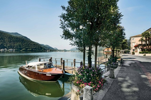 Morning mood with boat at the Lake Lugano, Morcote. Copyright by: Switzerland Tourism
