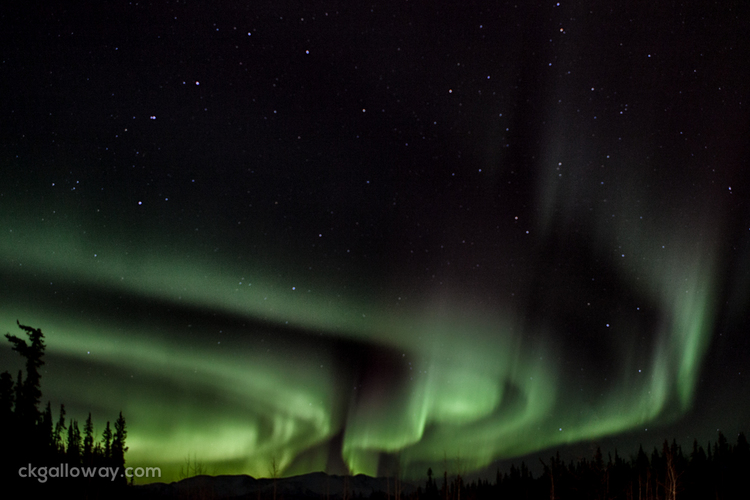 Our first peak at the Northern Lights. Photo courtesy of Christa Galloway. You can see more on her blog theroadnorth.ca