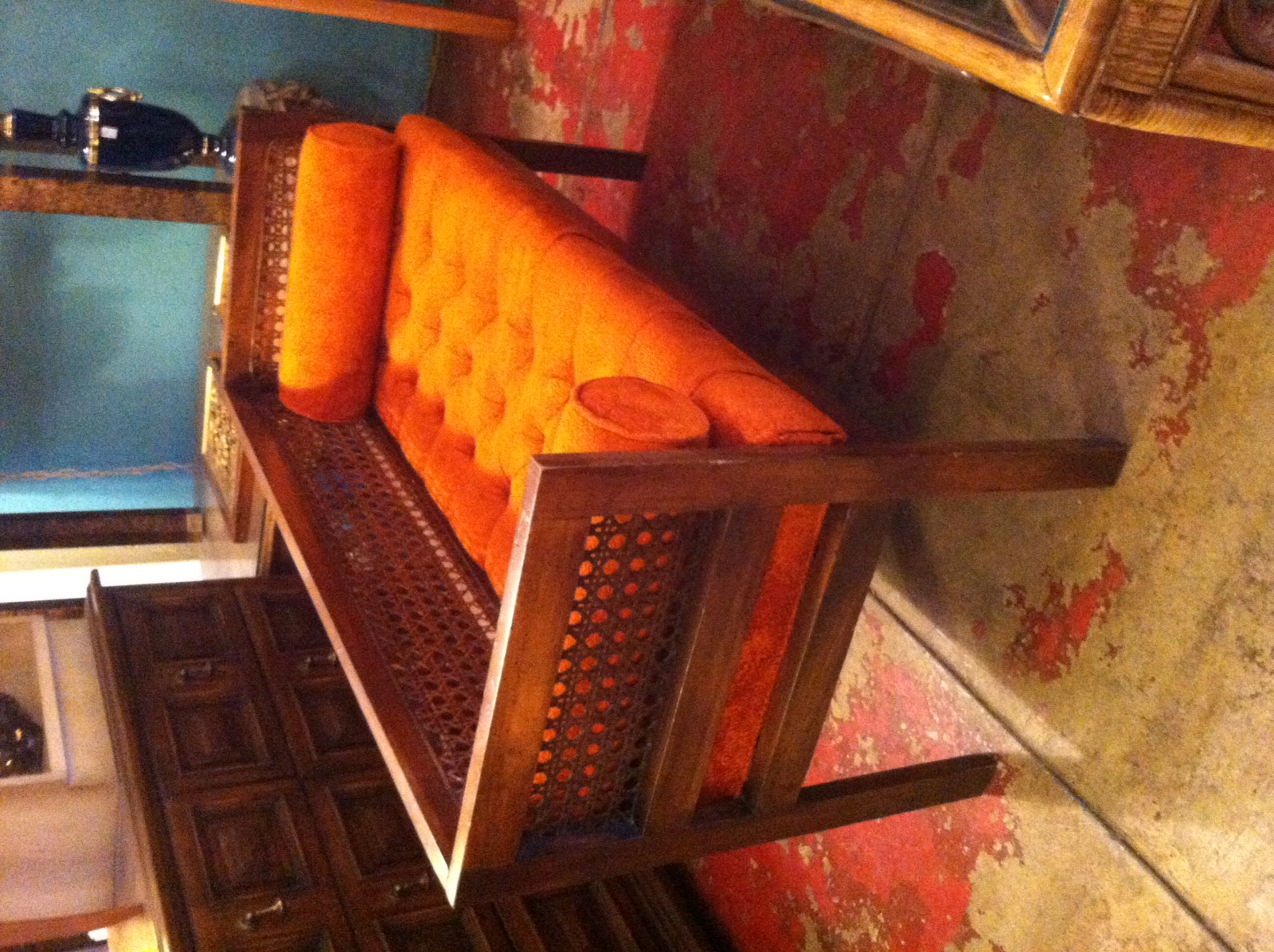 Sold Pinterest Worthy 1970s Orange Bench With Cane