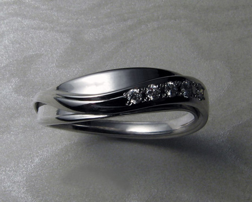 Ladies Band For Free Form Engagement Ring Set