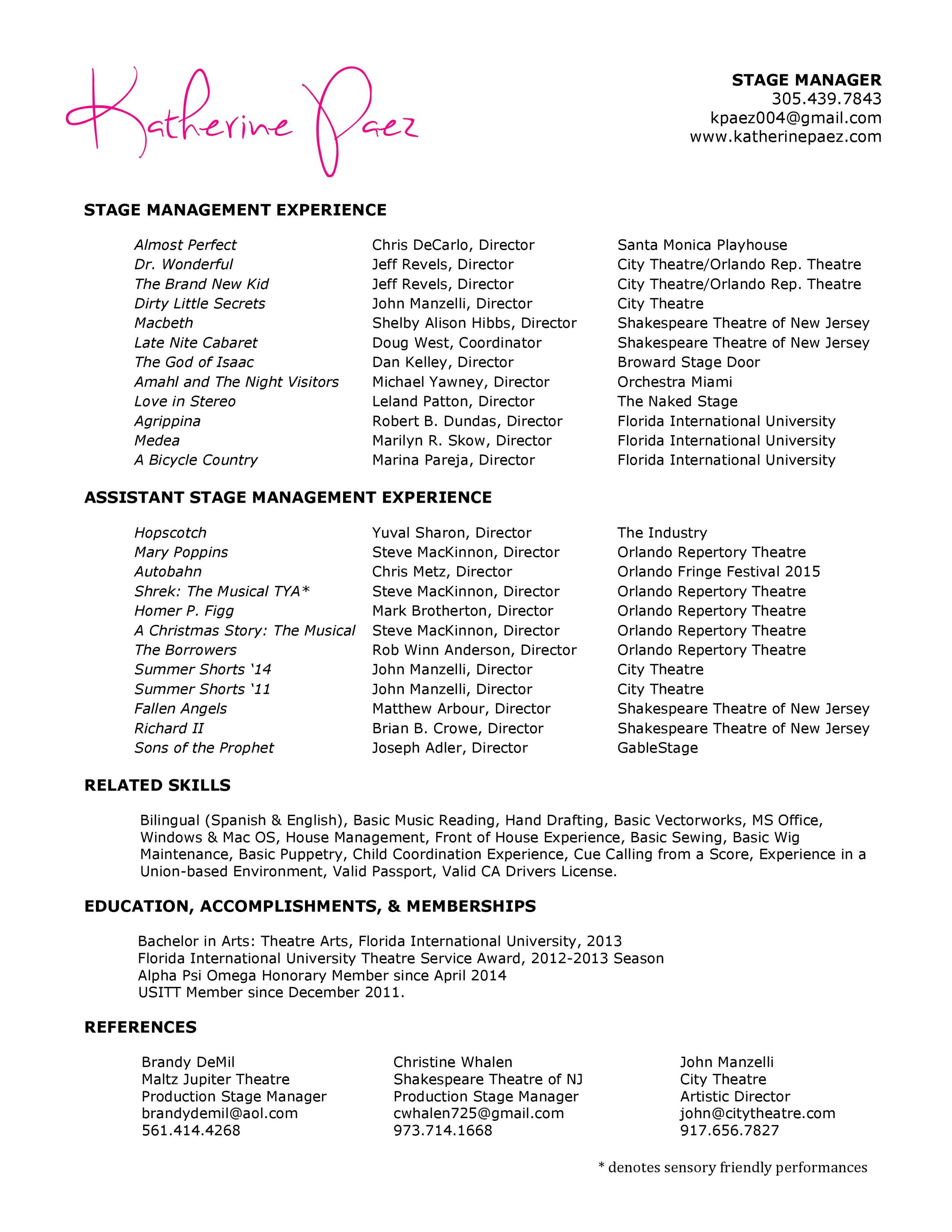 Stage Manager Resume Templates Template