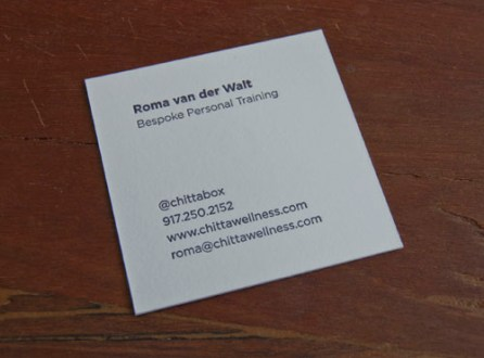 Square format business cards     Sesame Letterpress   Design When she came in to meet with us and discuss what kind of card stock she  wanted  she saw a sample of a square card and immediately fell for it