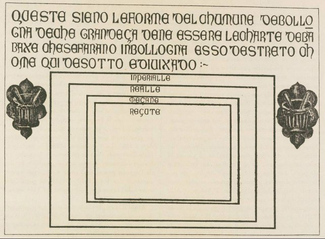 The Bologna stone, showing the four standard paper sizes, circa 1389. Overall dimensions of the stone: 75 x 103 x 3.5 cm. The sizes of the rectangles that indicate paper-sheets, as given by the Museo Civico Medievale, Bologna: 50.5 x 73.5 cm; 44.5 x 61 cm; 34.5 x 50 cm; 31.5 x 44.5 cm. (Museo Civico Medievale, Bologna.) Faculty.goucher.edu. (2017).Hand-Press Book Paper Sizes. [online] Available at: http://faculty.goucher.edu/eng241/handpress_book_paper_sizes.htm [Accessed 3 Nov. 2017].
