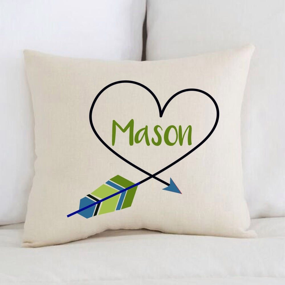 unique baby gift birth announcement personalized baby pillow boy heart arrow bellingham baby company