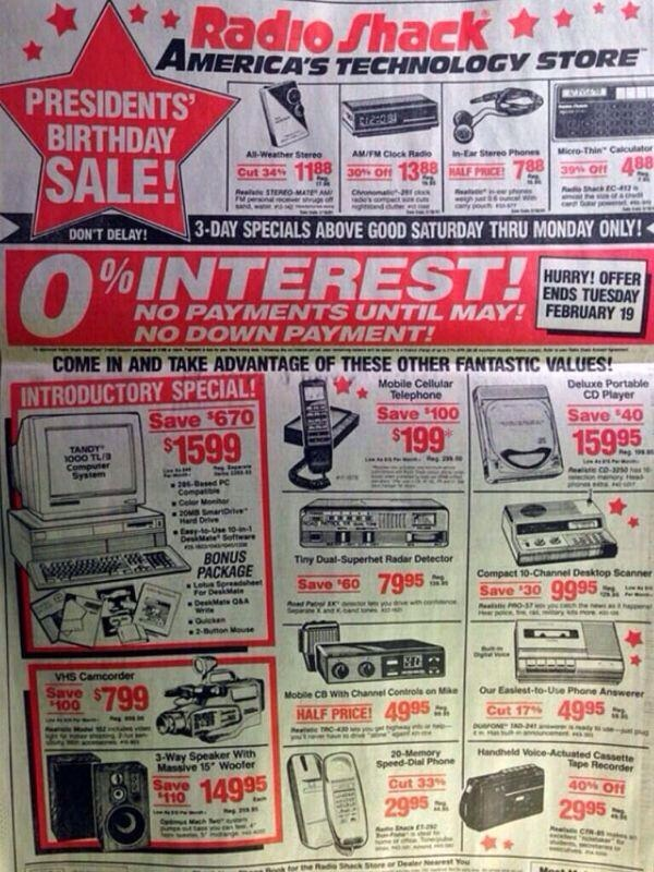 Everything in this 1991 Radio Shack ad you can now do on the iPhone. More convergence or less?