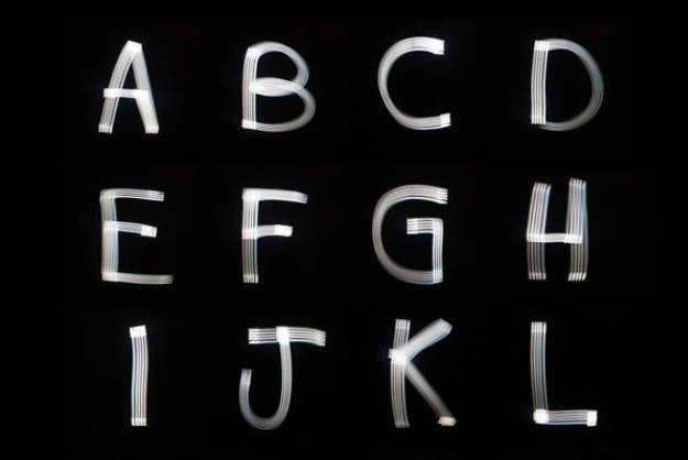 A new font created by using iPhone light into Darkness. Marcus Byrne just painted into the air.