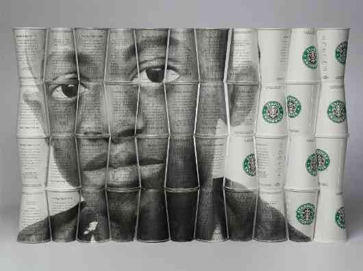 "Graphite on Starbucks cups. ""Daudi""(2007) by Phil Hansen"