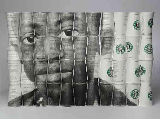 "Graphite on Starbucks cups. ""Daudi""(2007) by Phil Hansen"