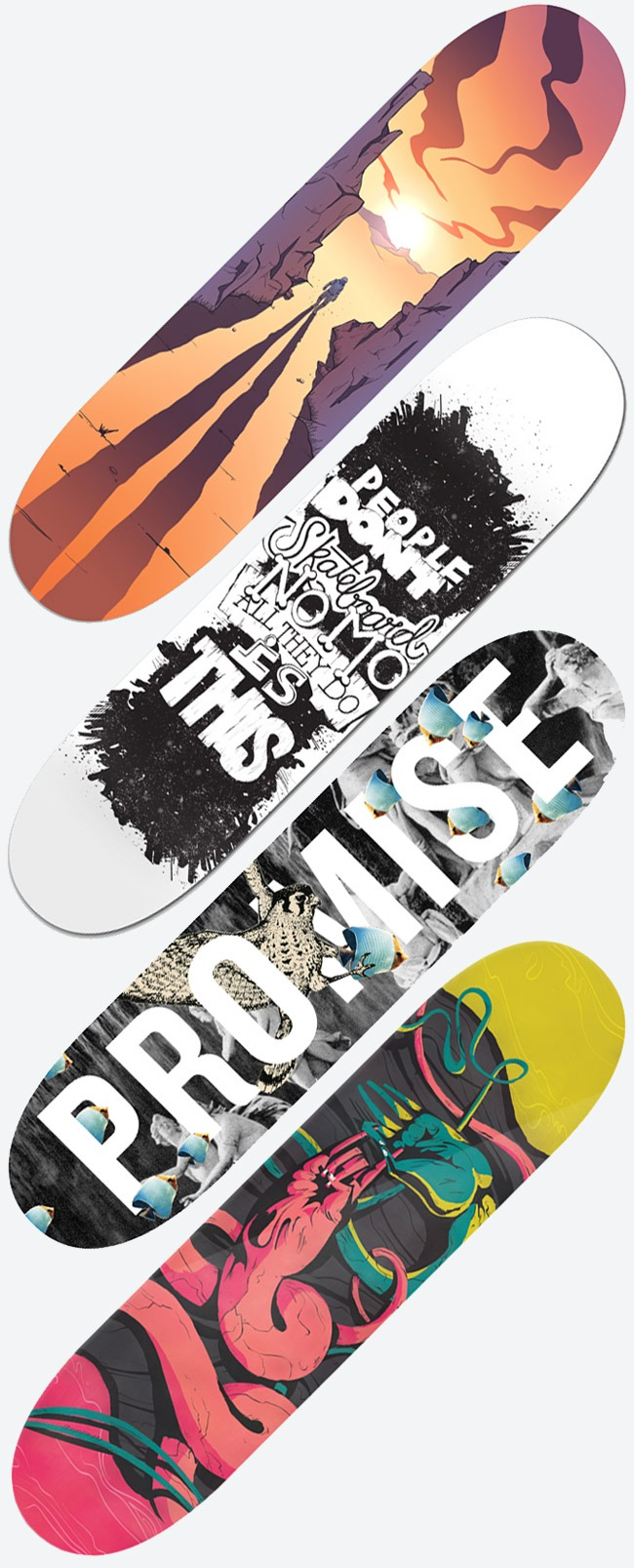 Skateboards designed for charity. From top to bottom: The Frontiersman, by Tyson Damman THIS, by Karla Mickens Promise, by Able Parris Effin' Metal, by Jay Quercia