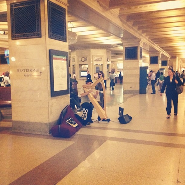 Finally, a legitimate musician in Grand Central. Ladies and Gentlemen….the Harp. (Taken with Instagram at Grand Central Station)