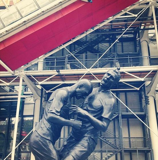 Sculpture: Zinedine Zidane headbutting Marco Materazzi at the Pompidou Centre (via Matt Barker)