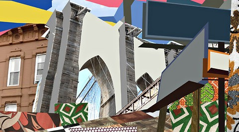 Brooklyn's cityscape by Mickalene Thomas