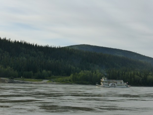 Sternwheeler hauling tourists up the Yukon River