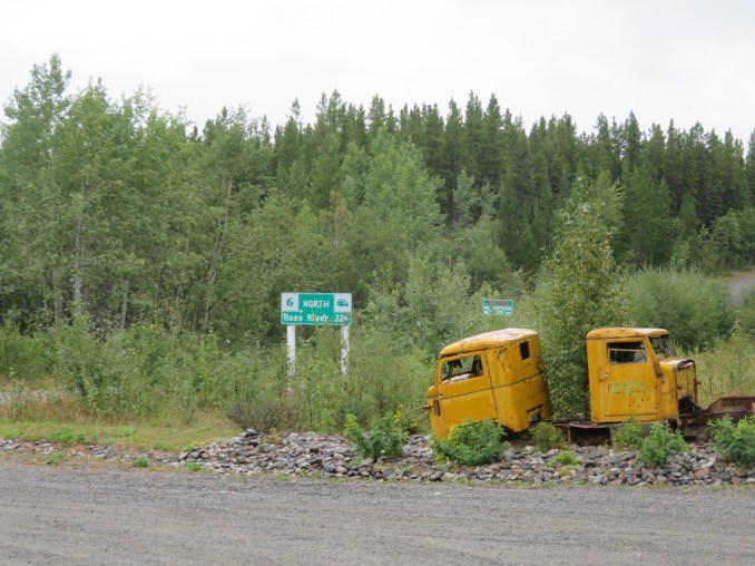 When it was closed, thousands of vehicles, oil barrels and other debree were left on the road. The Yukon side is fairly cleaned up and the remainder of old machinery is arranged neatly as historic displays.