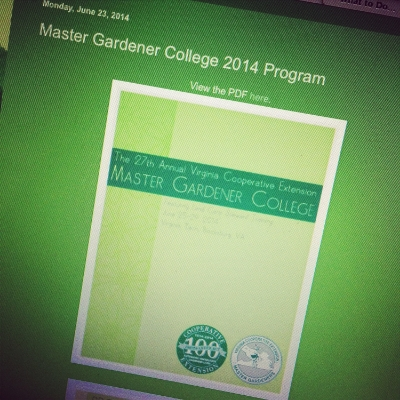 Master Gardener College 2014 is this week!