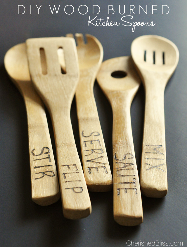 DIY Wood Burned Kitchen Spoons from Cherished Bliss!