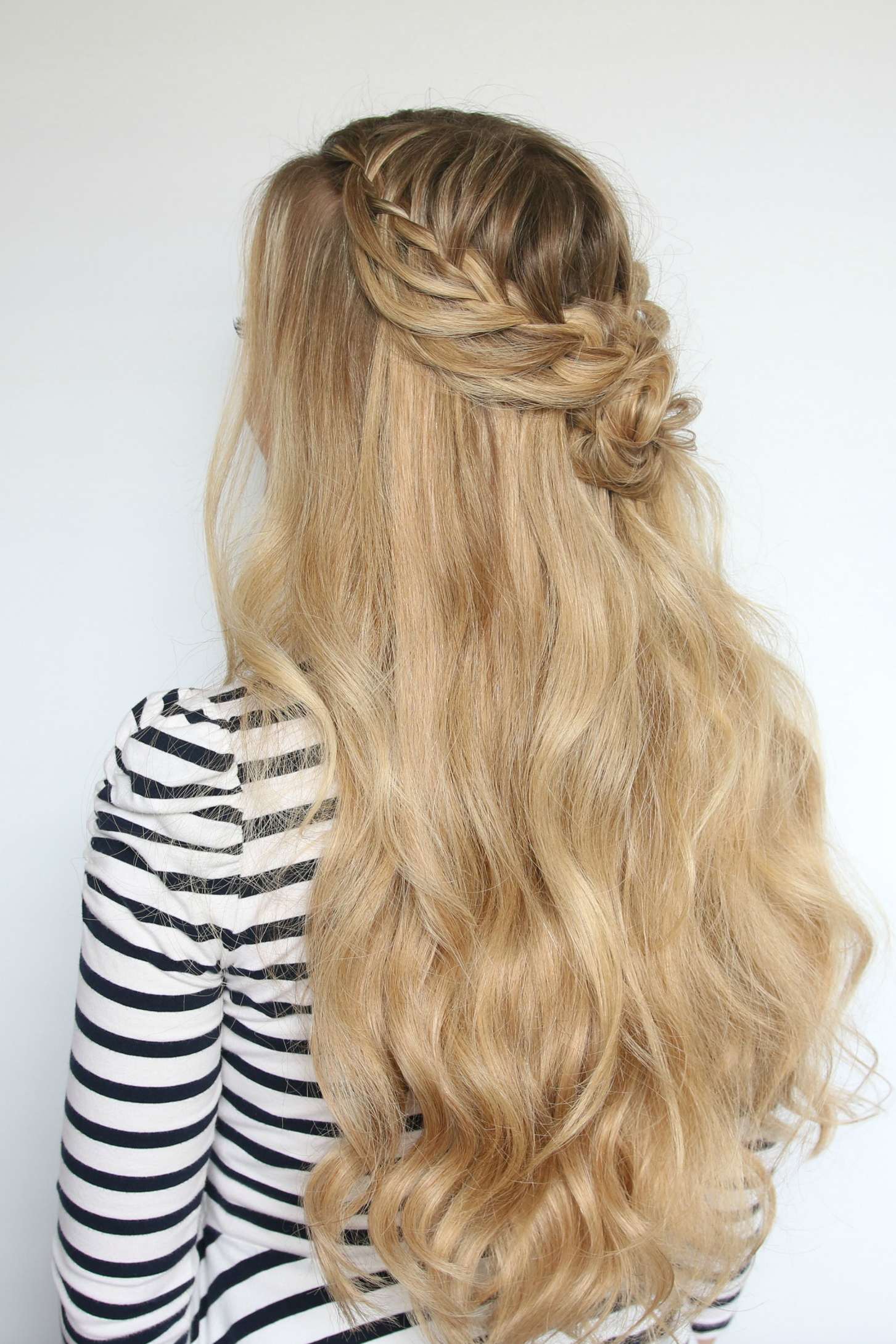 Romantic Hairstyle Half Up Flower Bun For Prom Luxy Hair