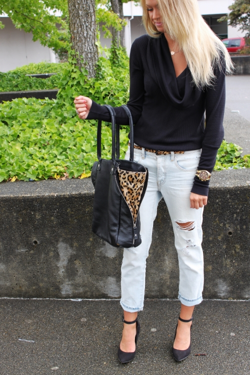Boyfriend Jeans // American Eagle Shoes // Old but similar here(and also featured in this post) // Cowl Neck Top // SplendidHandbag // Old, love this one Watch // Michael Kors