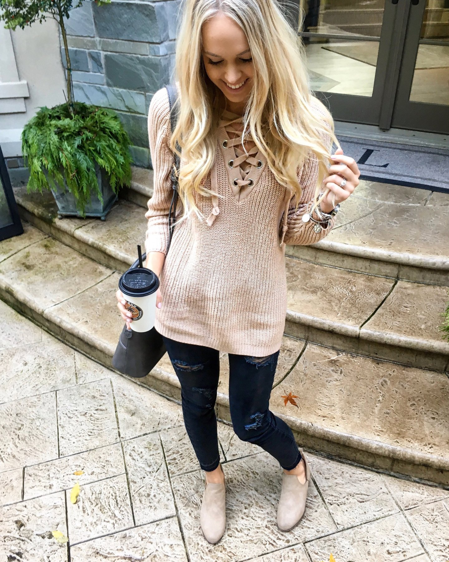 Sweater | Pants | Similar booties here & here  | Purse | Bracelets here & here | Watch