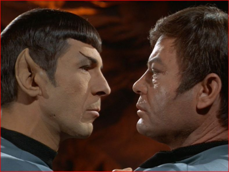 Spock and McCoy share a moment.