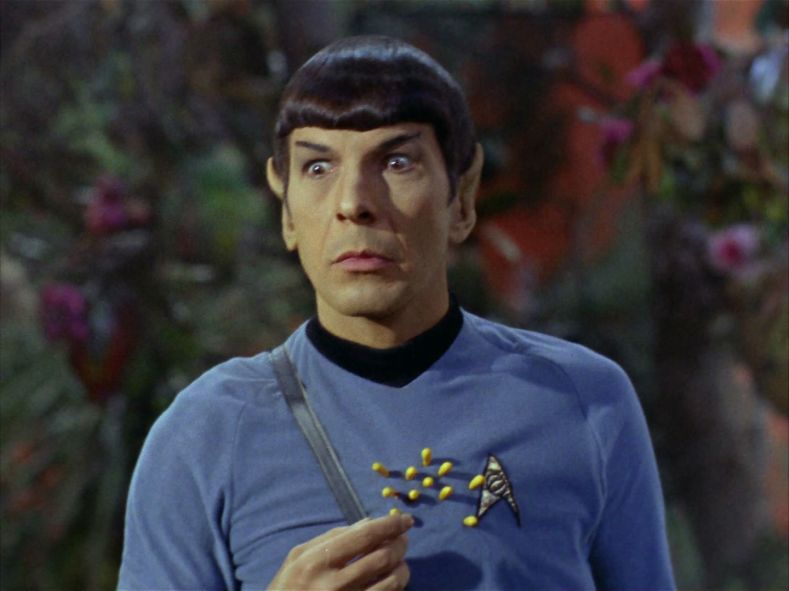 Spock is a little stuck.