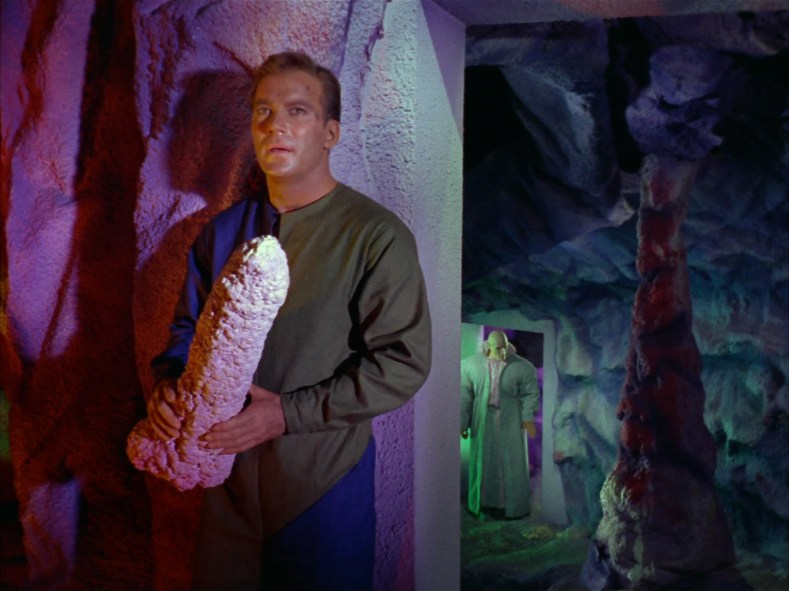 Captain Kirk, with a rock.