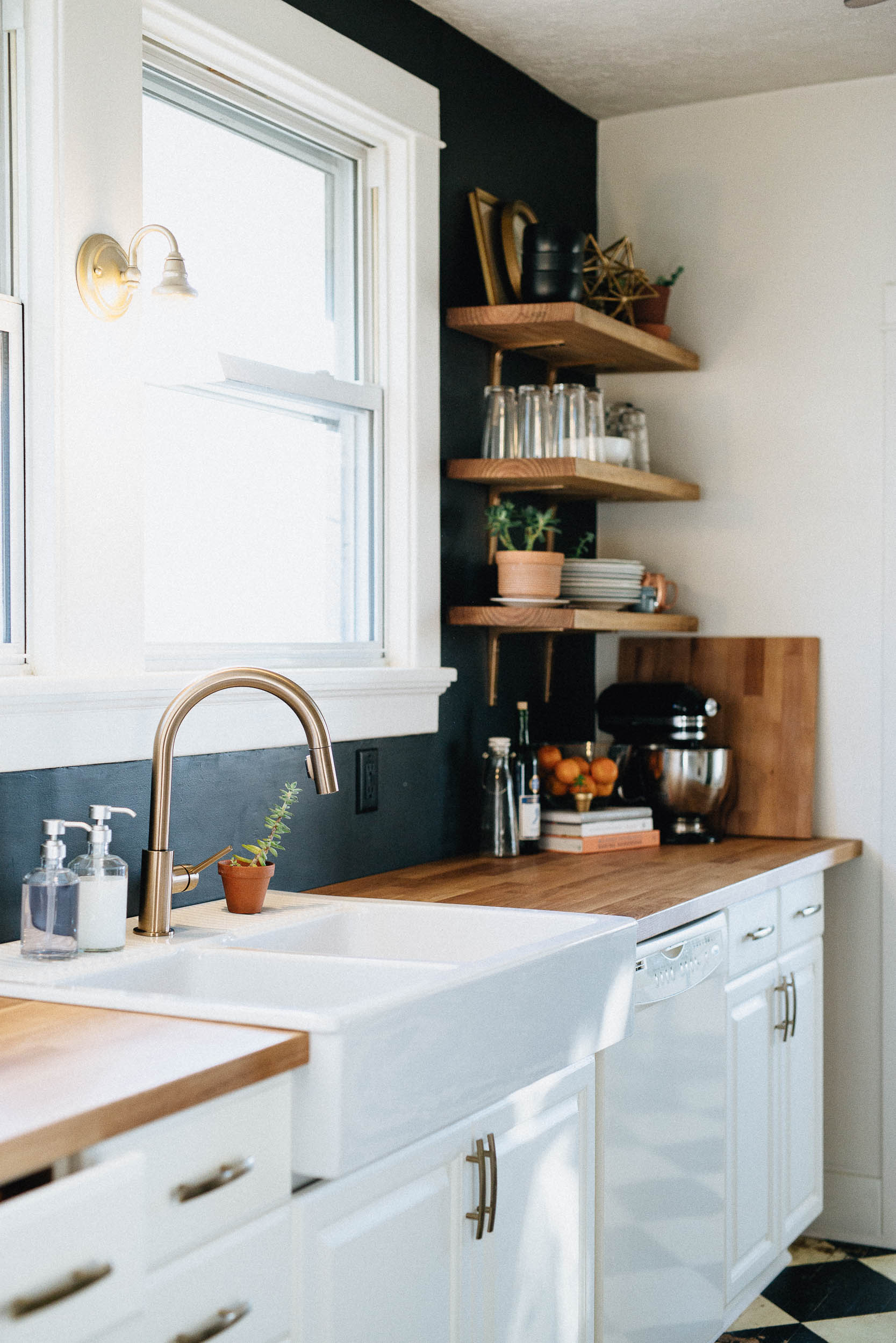 White Kitchen Navy Walls