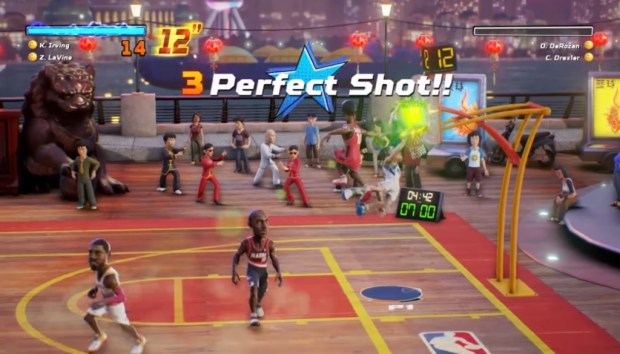 "The ""lottery pick"" system of power-ups is well-implemented, with an interesting set of effects such as unlimited turbo or double points for dunks for a limited time. What I don't approve of are the bonus points awarded for ""perfectly timed"" shots or for the first basket of the game, mainly because they can't be turned off, and, of course, the AI benefits from it far too much."