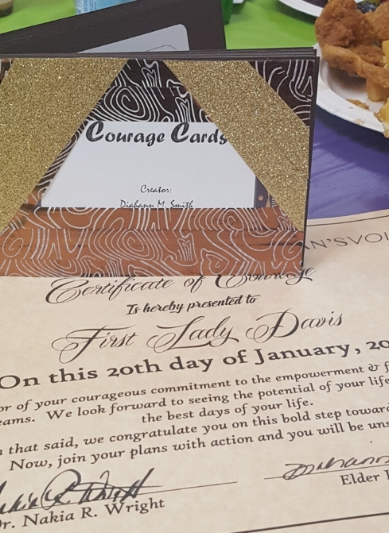 Book of Courage Cards and Certificate, glimpse that fried chicken in the corner