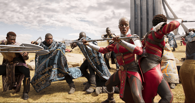 Florence Kasumba & Lupita Nyong'o in battle scene photo Marvel Studios