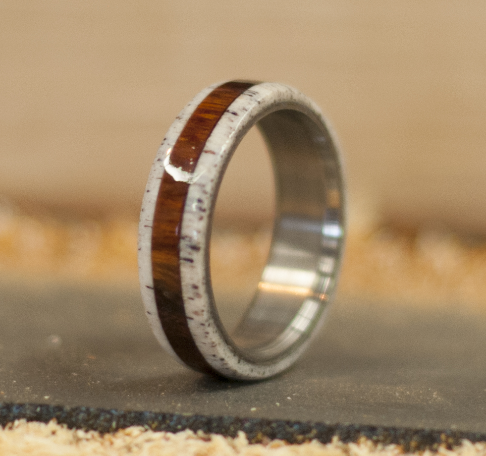 IRONWOOD Amp ANTLER WEDDING BAND Available In Titanium