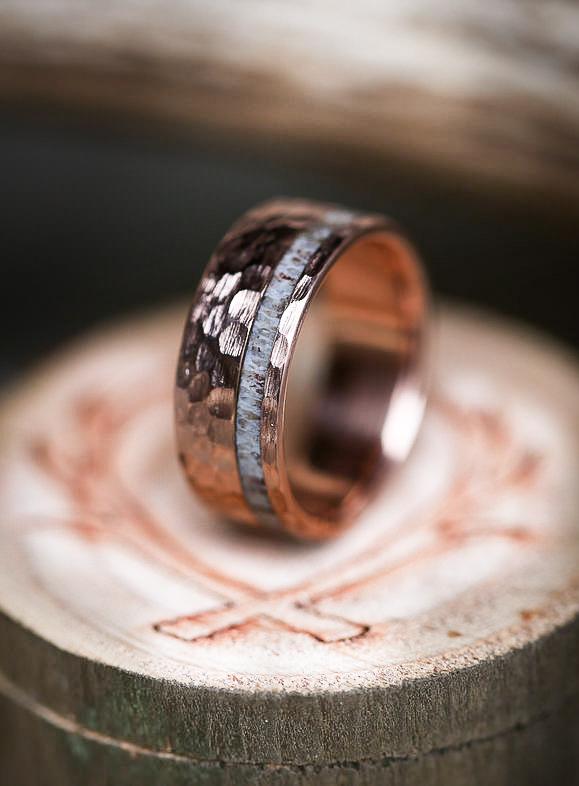 10K GOLD Amp ELK ANTLER WEDDING BAND W HAMMERED FINISH