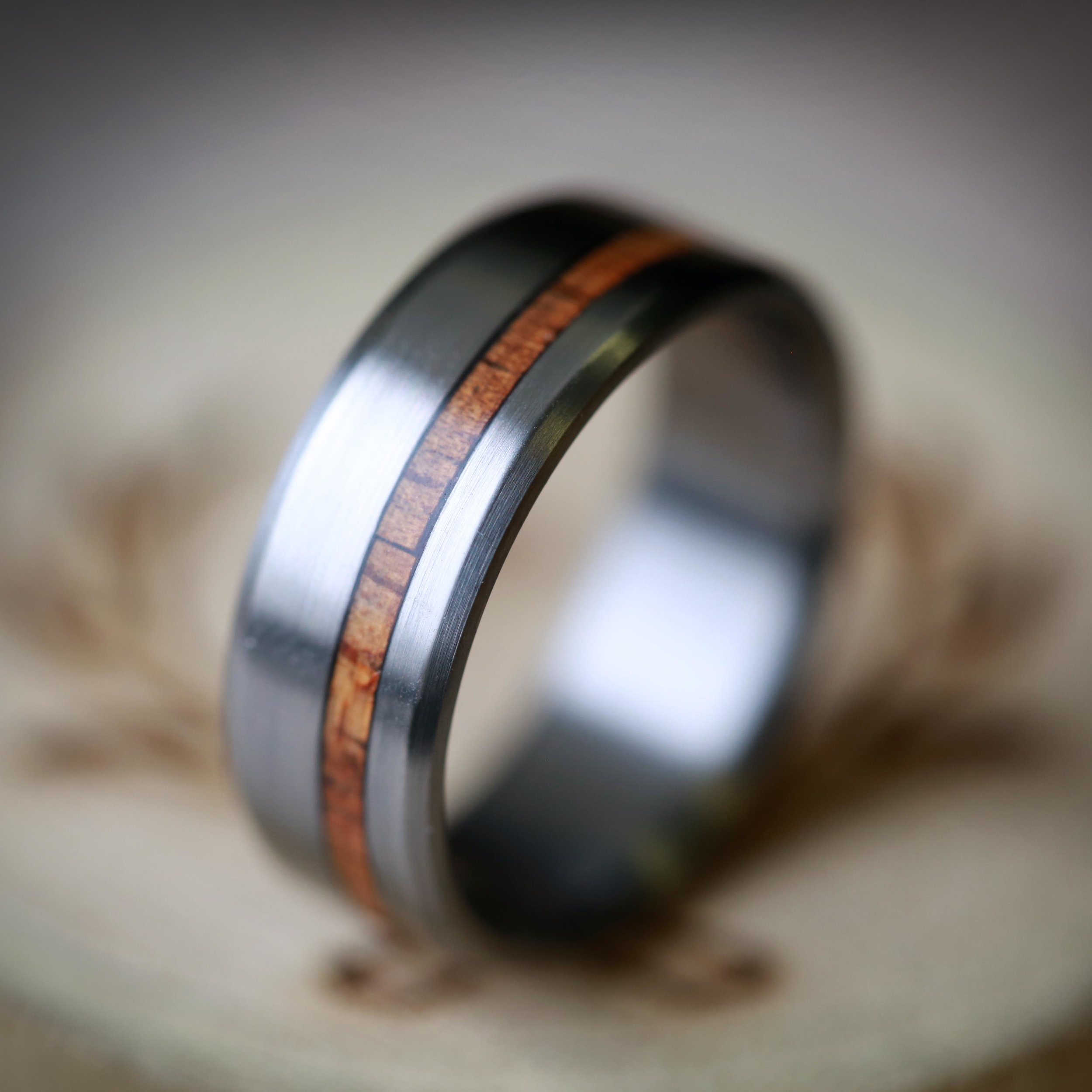 koa wood wedding ring for men handcrafted by staghead designs