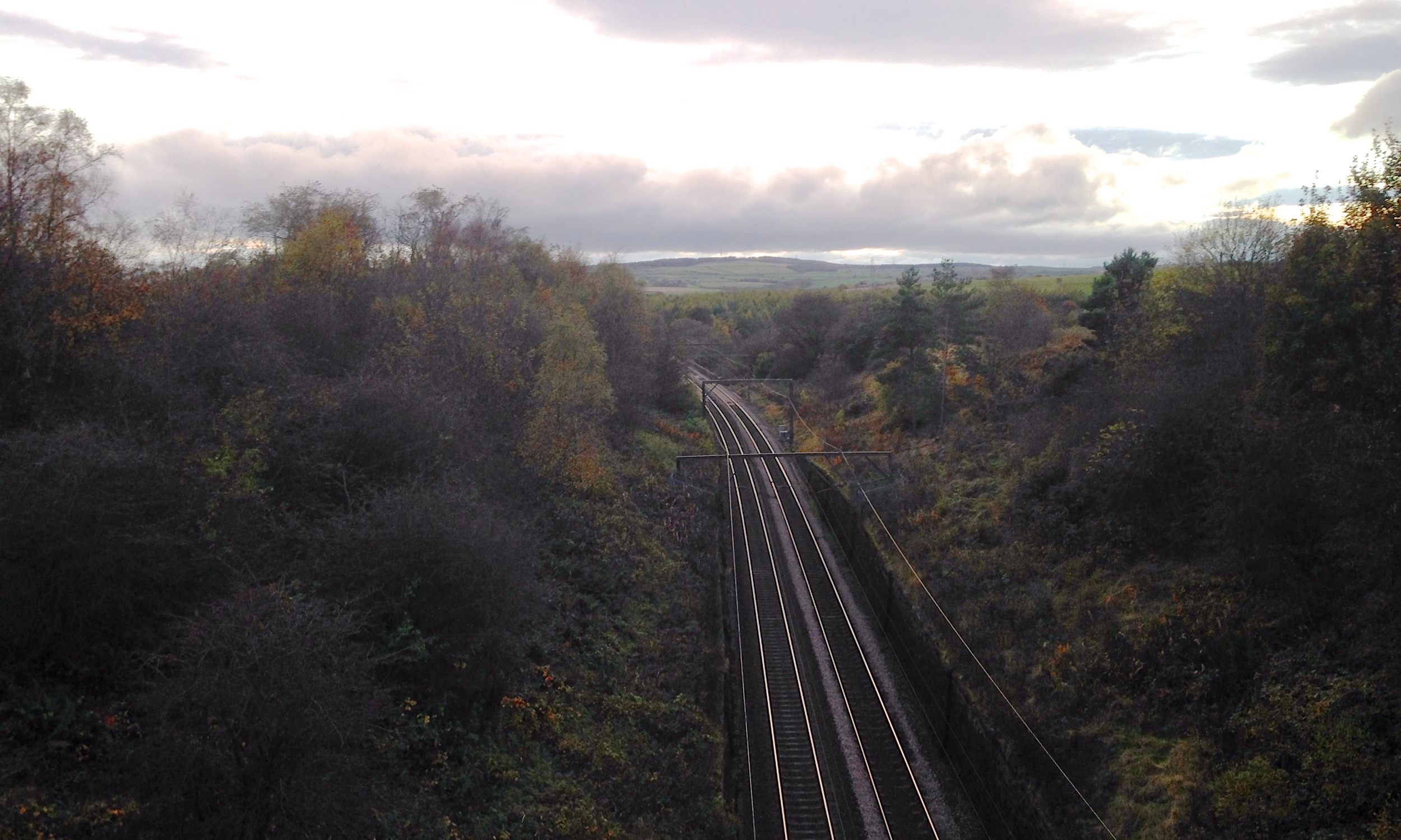 The East Coast train line that passes by Natalie's Cottage.