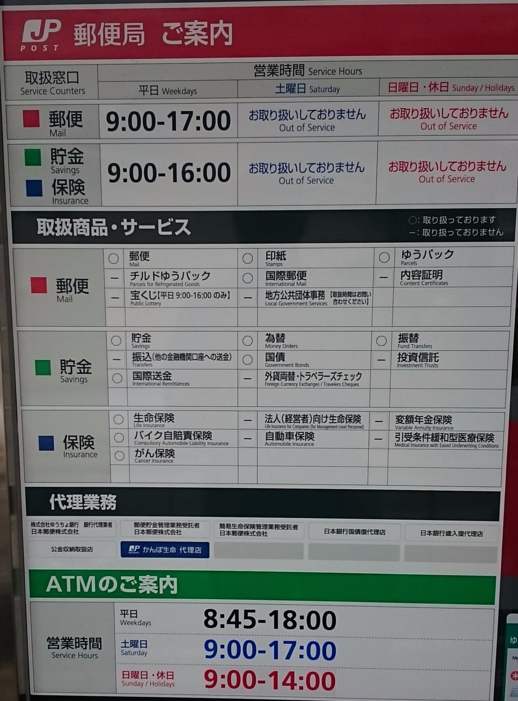 Opening hours at the Yuzawa Post Office