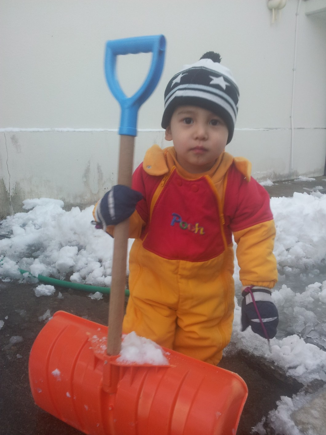 Little old men all over Snow Country keep fit by shovelling snow all winter long