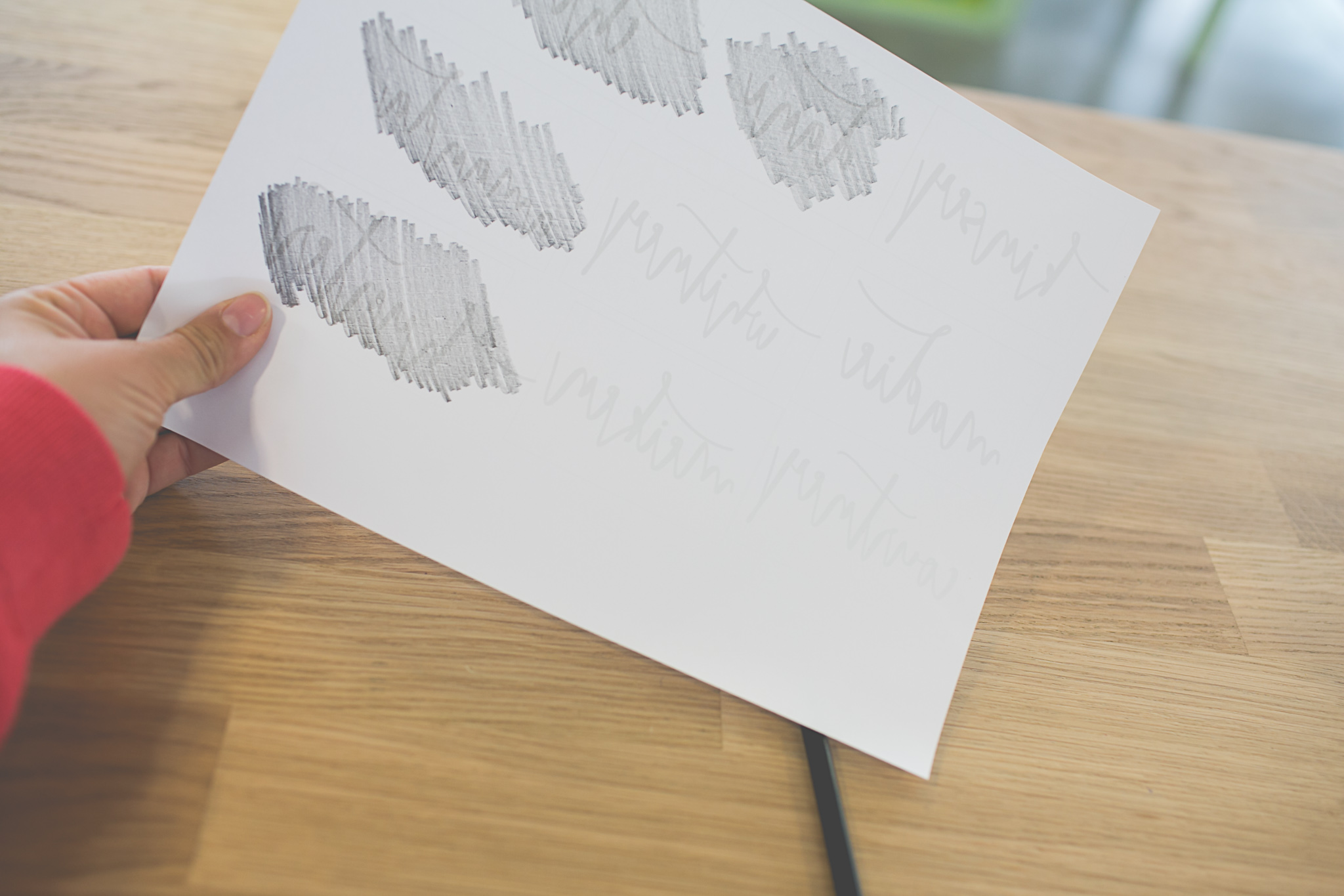 use the side of your pencil to create a 'carbon paper' (if you would rather use actual carbon paper- that works great too) only worry about laying the pencil on the areas with printing.